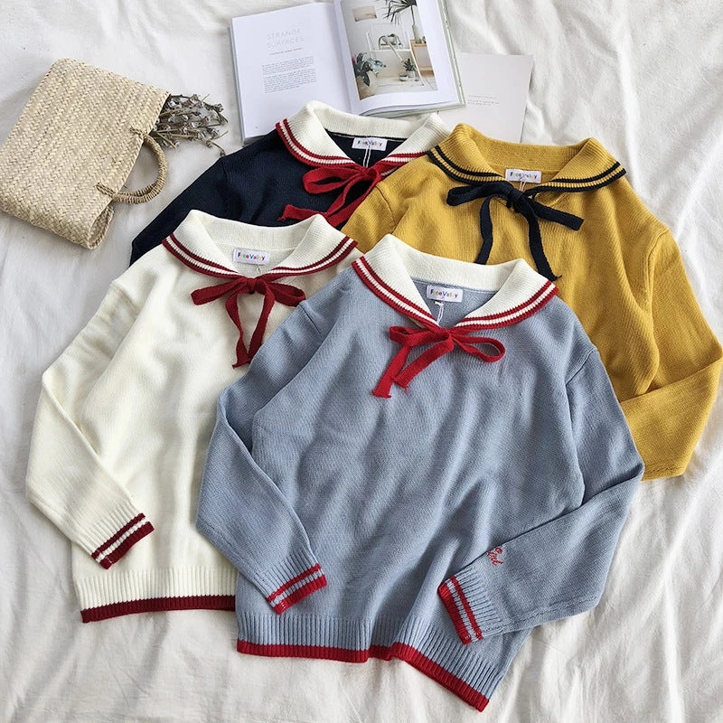"""DOLL COLLAR BOW"" SWEATER K082502"