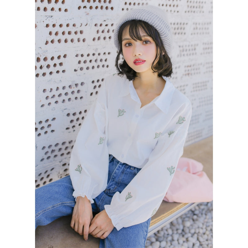 """CACTUS EMBROIDERY"" SHIRT W010132"
