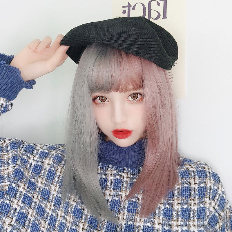 """PURPLE GRAY"" MEDIUM LONG STRAIGHT WIG K082208"