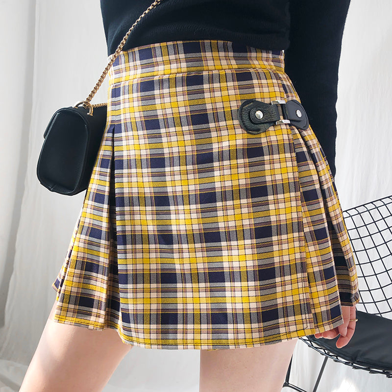 "[@mari_malibu] ""LEATHER BUCKLE YELLOW PLAID"" PLEATED SKIRT K040901REVIEW"