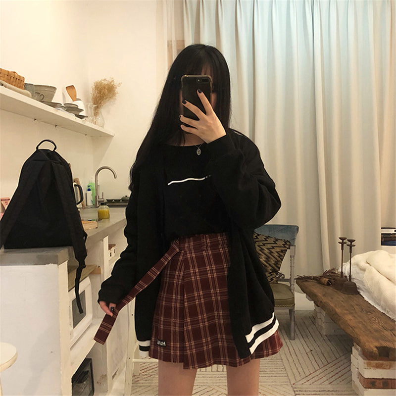 """3 COLORS HUGE"" PLAID SKIRT SHORT K022006"