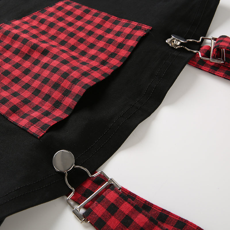"[@resauvi] ""RED PLAID"" SLING VEST CROP TOP K022802"