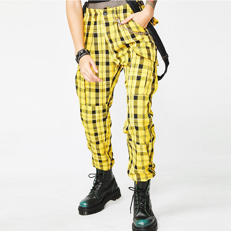 """PUNK PLAID STRAP"" PANTS W010420"