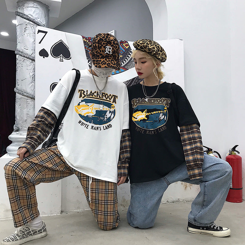 """COUPLE RETRO PRINTED PLAID"" LONG SLEEVES K050510"