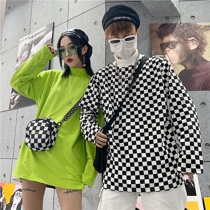 """COUPLE FLUORESCENT GREEN CHECKERS"" LONG SLEEVES K050509"