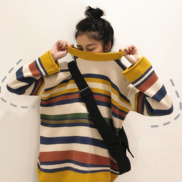 "[@_nikiica_] ""COLORFUL STRIPE"" SWEATER W010611REVIEW"
