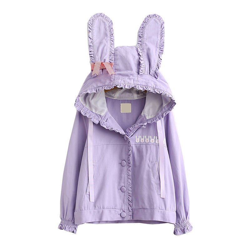 """CUTE BUNNY EAR"" HOODED CARDIGAN SHORT JACKET K100306"