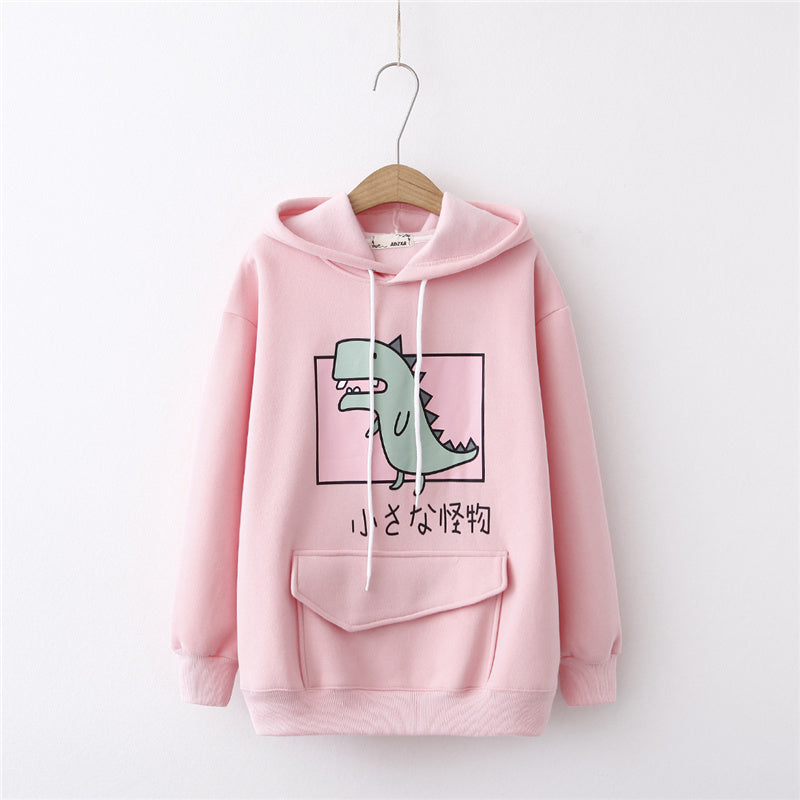 """CUTE LITTLE DINOSAUR CARTOON PRINT"" HOODIE K080304"