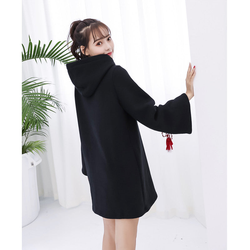 """JFASHION EMBROIDERY TASSEL LONG"" DRESS HOODIE K102704"