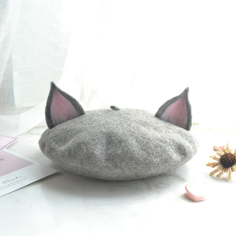 """CAT EAR GREY"" BERET K061419"