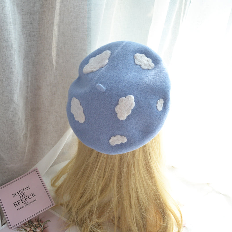 """BLUE SKY WHITE CLOUDS"" BERETS K061414"