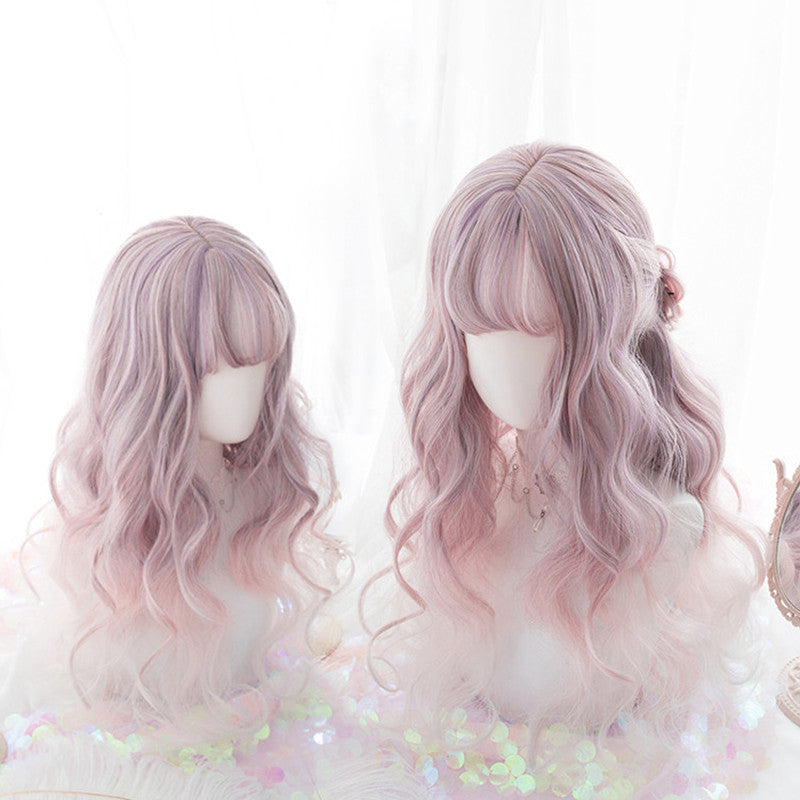 """DREAMY PINK PURPLE"" LONG CURLY WIG K102313"