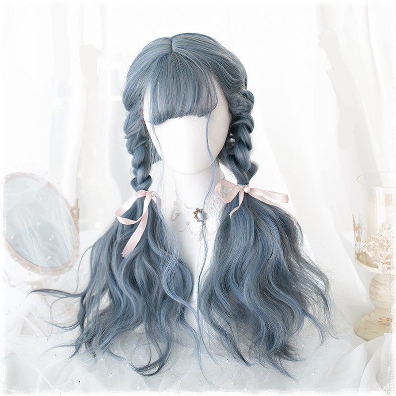 """MIXED GRAY-BLUE LONG CURLY"" WIG K102316"