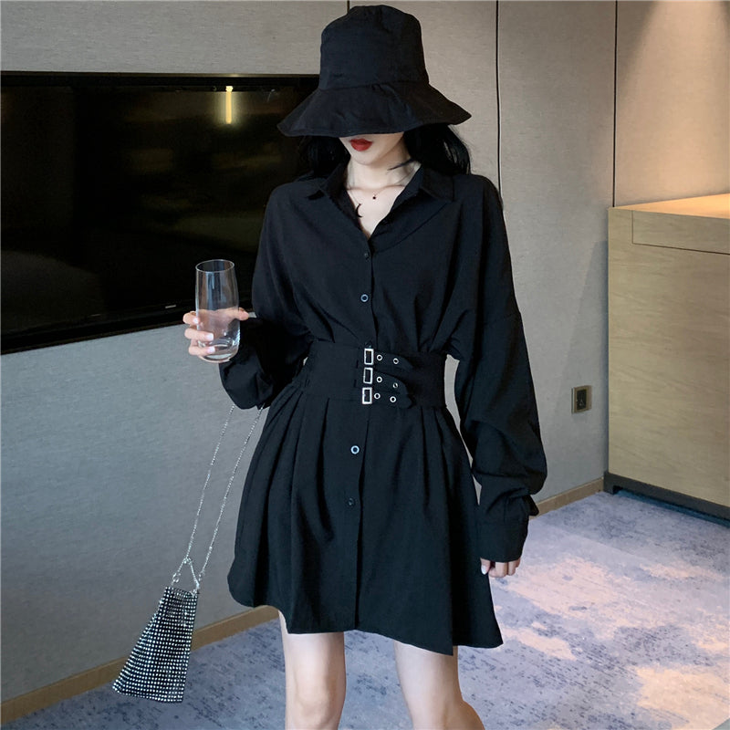 """CHIC BLACK/WHITE LONG SLEEVE"" SHIRT DRESS K102504"