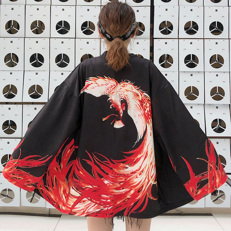 """RETRO FIRE PHOENIX"" LONG SLEEVE CARDIGAN K111006"