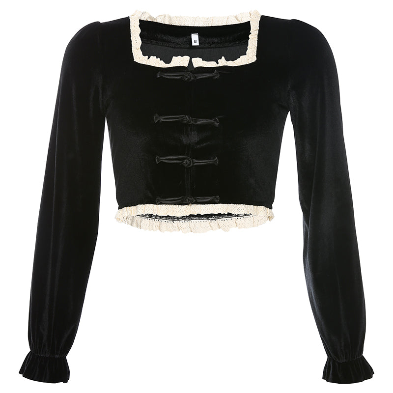"""BLACK RETRO VELVET LACE SQUARE COLLAR"" CROP TOP K111601"