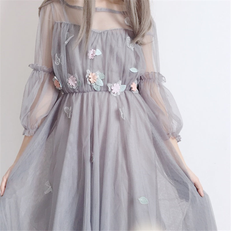 "[@f.oxbaby ] ""FLOWER"" MESH DRESS Y031101REVIEW"