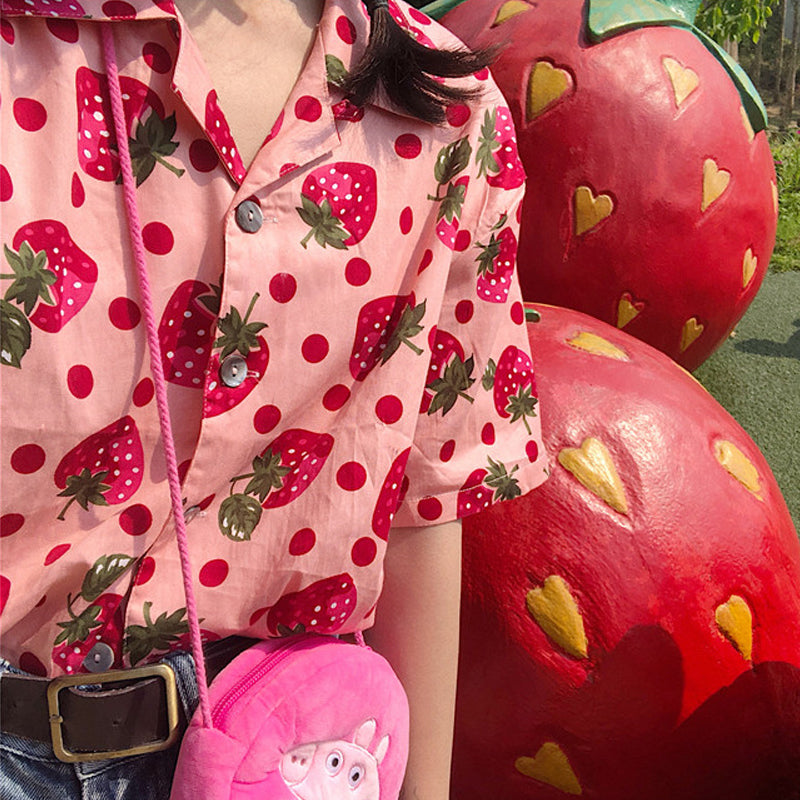 "[@suqarbunny] ""HARAJUKU RETRO STRAWBERRY"" SHIRT K040501REVIEW"