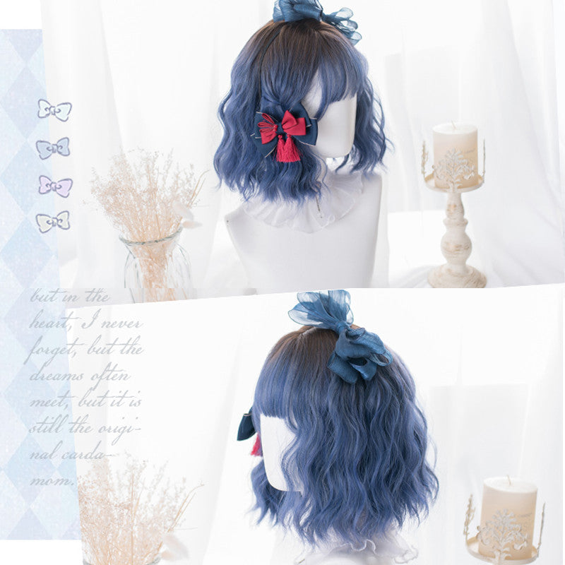 """BROWN GRADIENT BLUE SHORT CURLY"" WIG D041626"