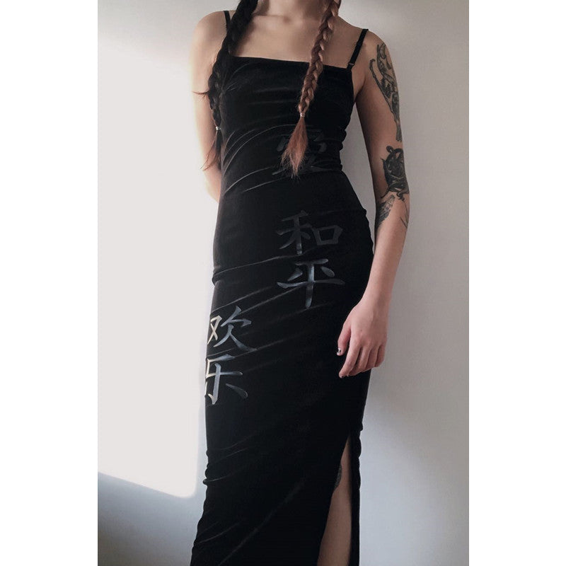 """BLACK LOVE PEACE"" LONG DRESS K112002"