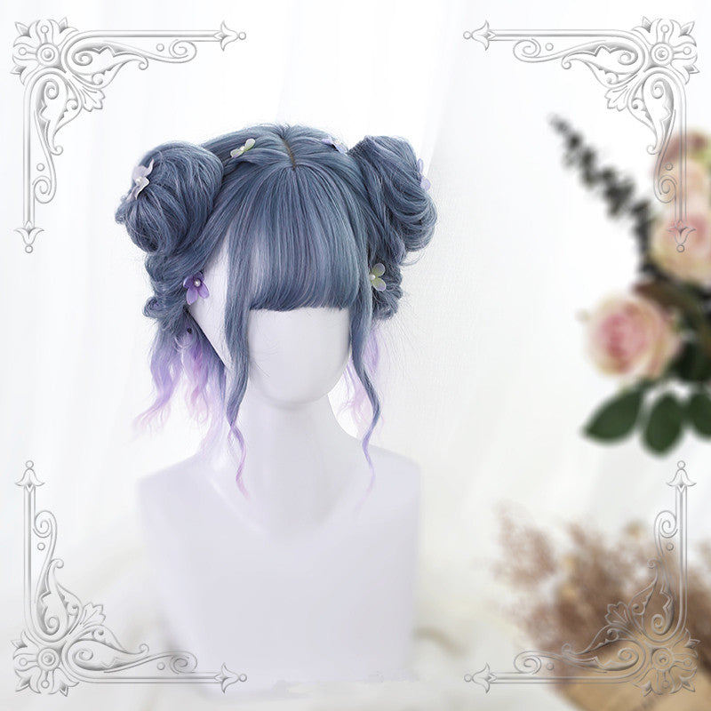 """GRADIENT BLUE PURPLE"" WIG + SMALL BUNS WIG Y021710"
