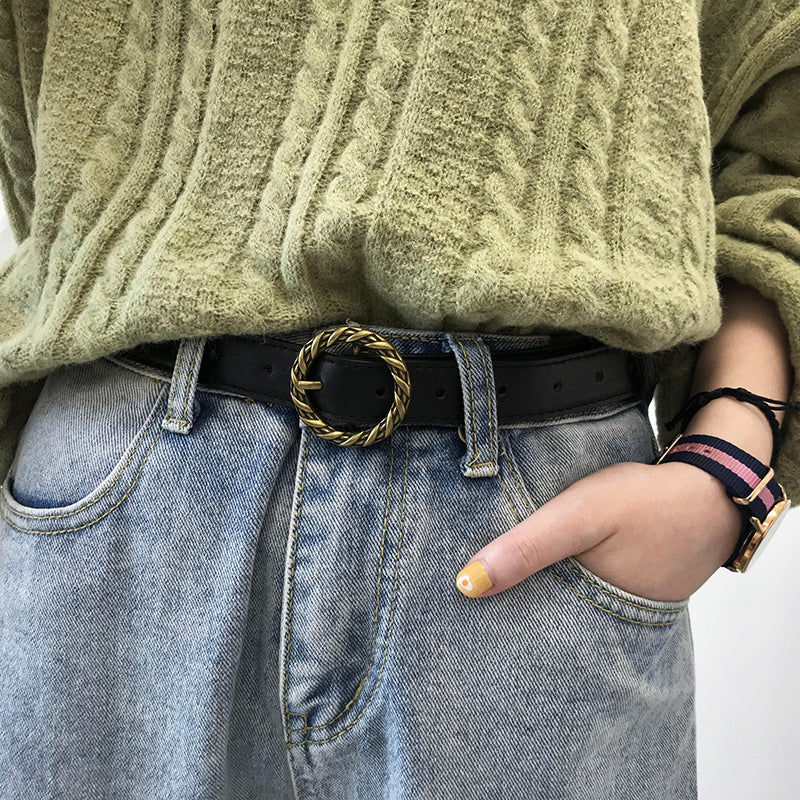 """RETRO ROUND BUCKLE WHORL"" BELT K122824"