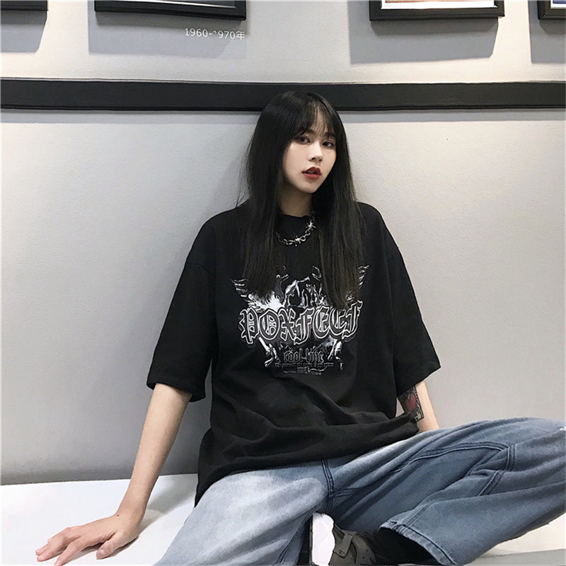 "[@aeroplvnes] ""COOL LINE"" HARAJUKU DARK SHORT SLEEVE T-SHIRT K102513"