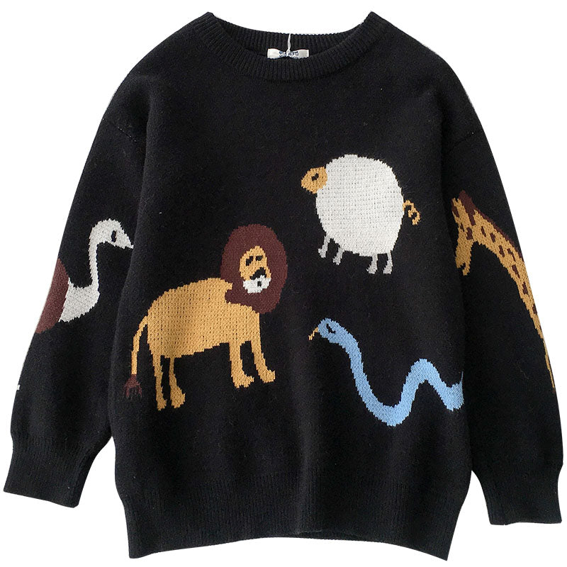"""LAZY CUTE ANIMAL"" SWEATER K112217"