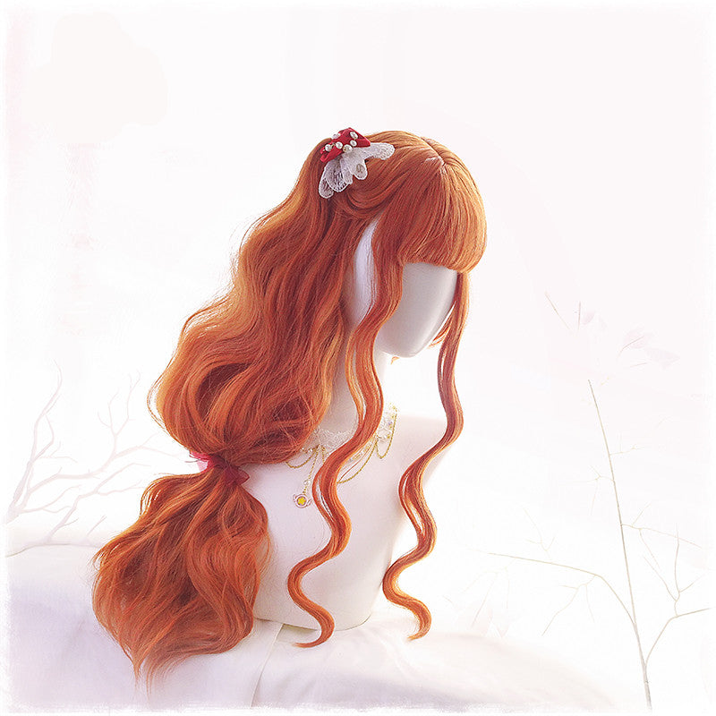 """HARAJUKU LOLITA ORANGE LONG CURLY""  WIG K102318"