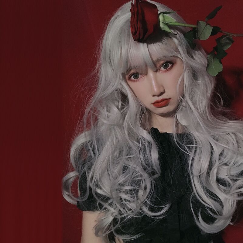 """SILVER LARGE WAVY"" LONG CURLY HAIR WITH BANGS K081602"
