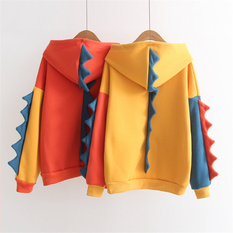 """YELLOW/ORANGE DINOSAUR FLEECE"" LOOSE HOODIE K082404"