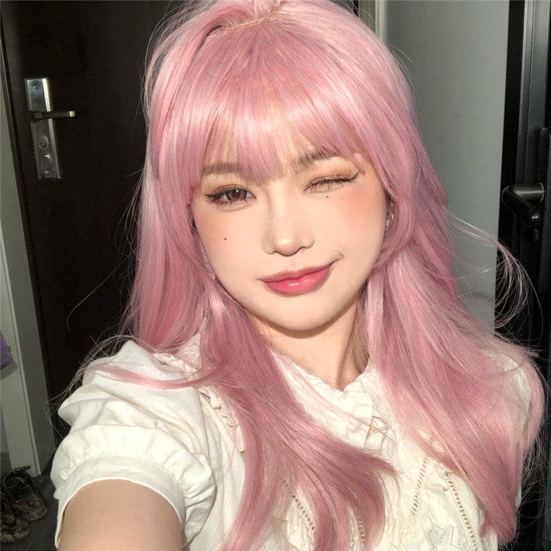 """ LONG STRAIGHT PINK HAIR ""WIG H082101"