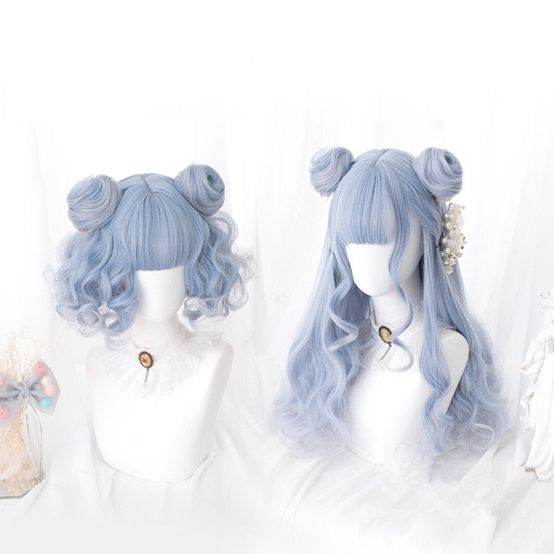 """BLUE GRADIENT LONG / SHORT CURLY"" WIG D041609"