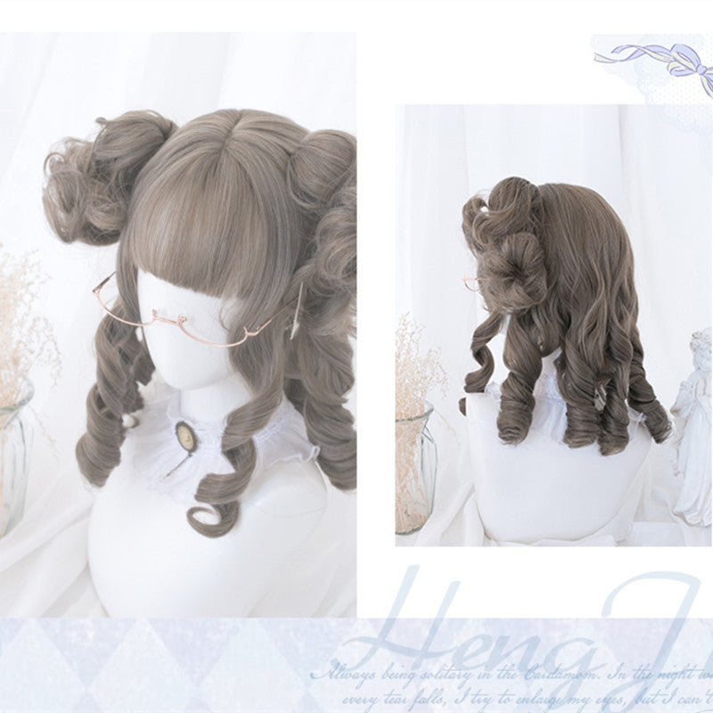 """GOLDEN/CHOCOLATE/LINEN GREY CURLY LONG"" WIG Y040906"