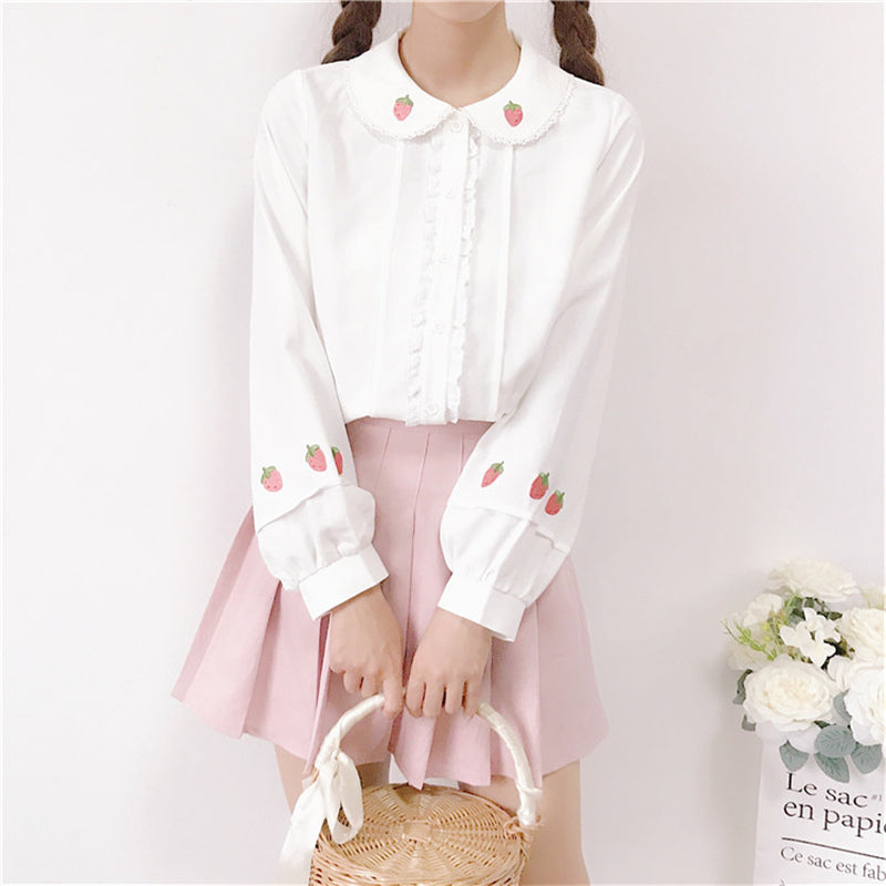 """EMBROIDERED STRAWBERRY DOLL COLLAR LANTERN SLEEVE"" SHIRT K111909"