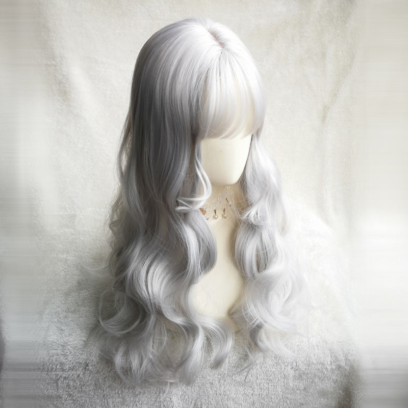 """SILVER WHITE LONG CURLY"" WIG Y040318"