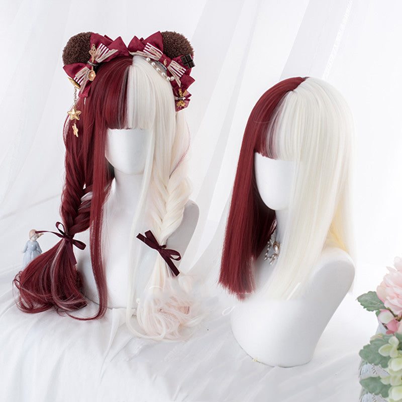 """LOLITA RED  WHITE LONG STRAIGHT / CURLY"" WIG N082511"