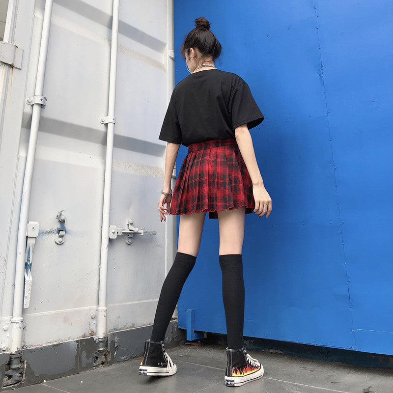 "[@misaki_tl] ""PLAID DARK IRREGULAR"" SKIRT + SHORTS K071301REVIEW"