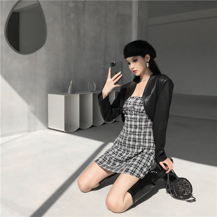 """BUTTERFLY PLAID PLEATED SLIP"" DRESS  N051004"