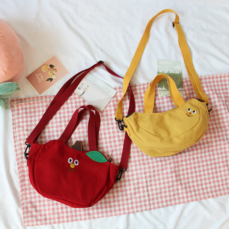 """FRUIT BANANA APPLE EMBROIDERY CARTOON CANVAS"" BAG K071908"
