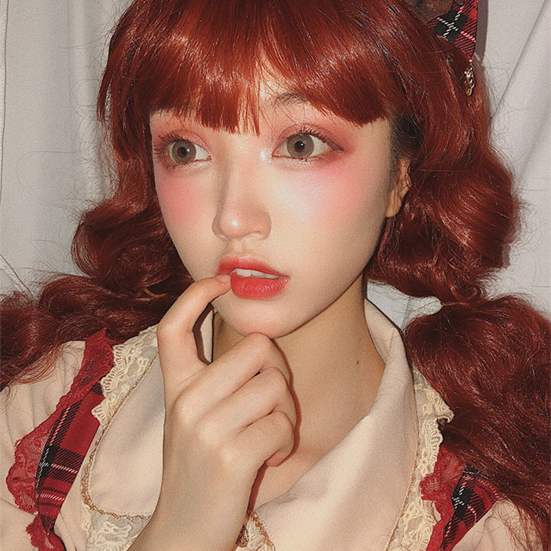 """ RED LONG WOOL ROLL ""WIG H082108"