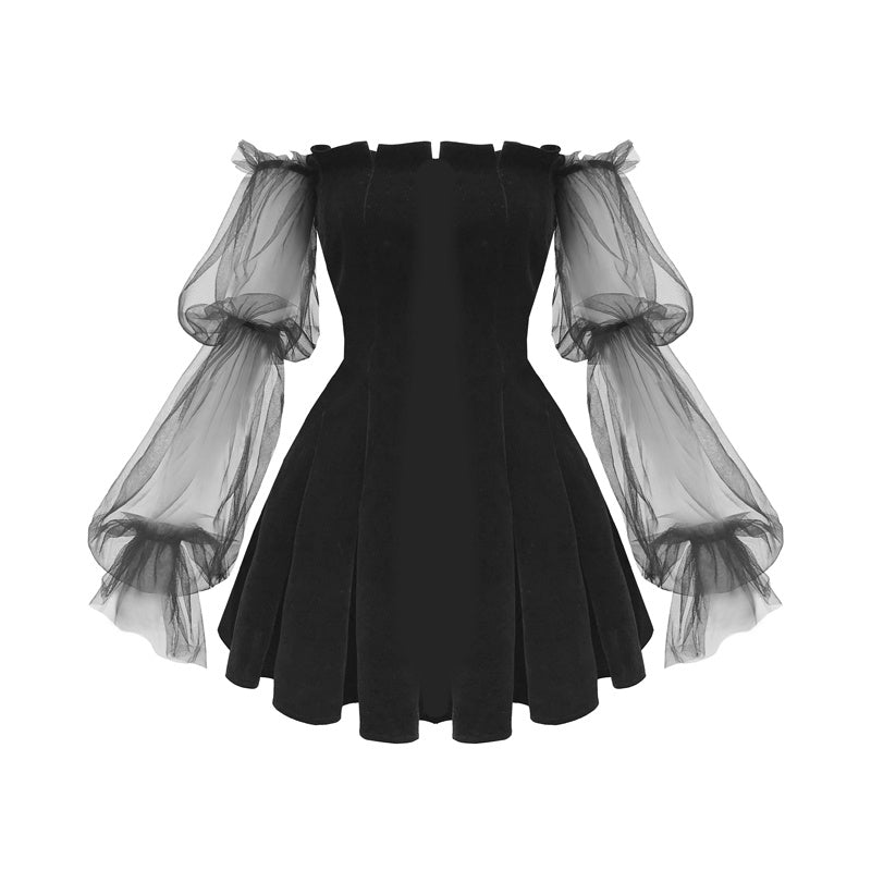 """BLACK PUFF SLEEVE OFF-SHOULDER VELVET"" PLEATED DRESS K111822"