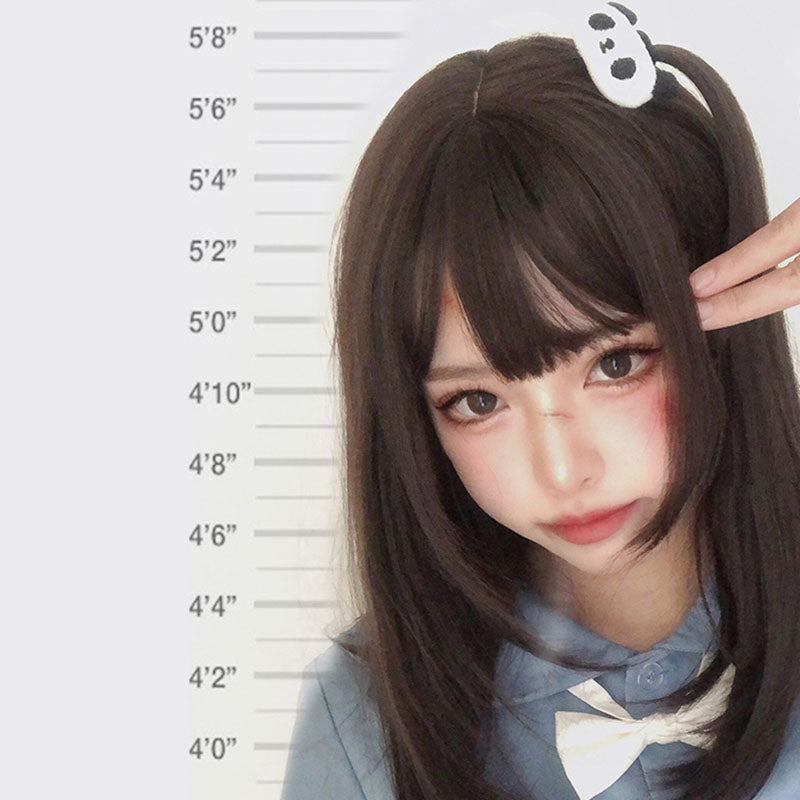 """BLACK BROWN LONG STRAIGHT"" WIG H081203"