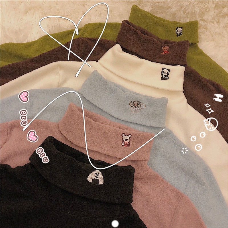 """EMBROIDERED SMALL ANIMALS FLEECE"" TURTLENECK K110509"
