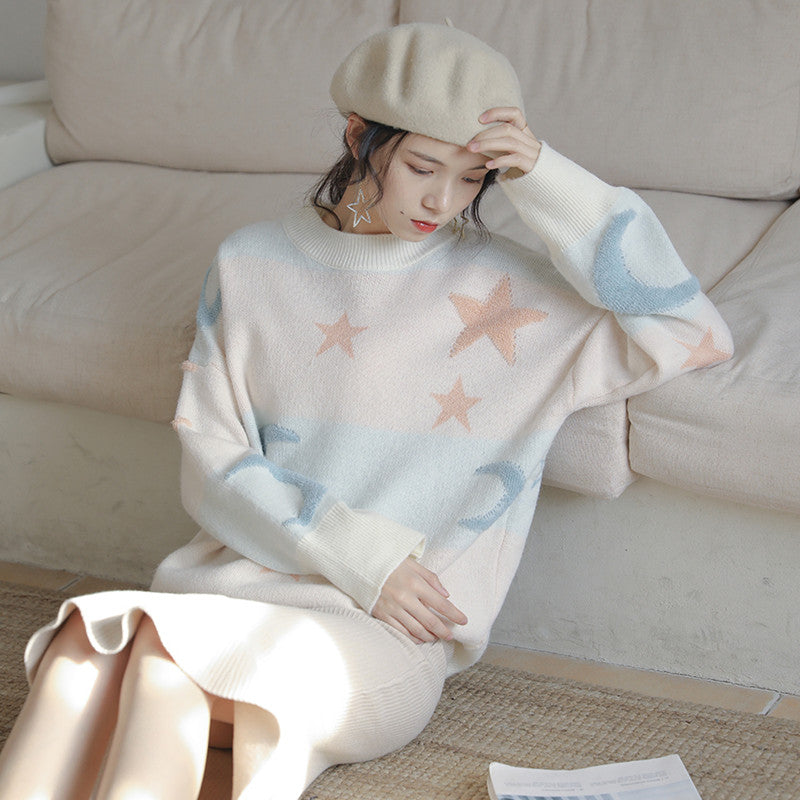 """CHIC MOON STAR PASTEL"" SWEATER K122805"
