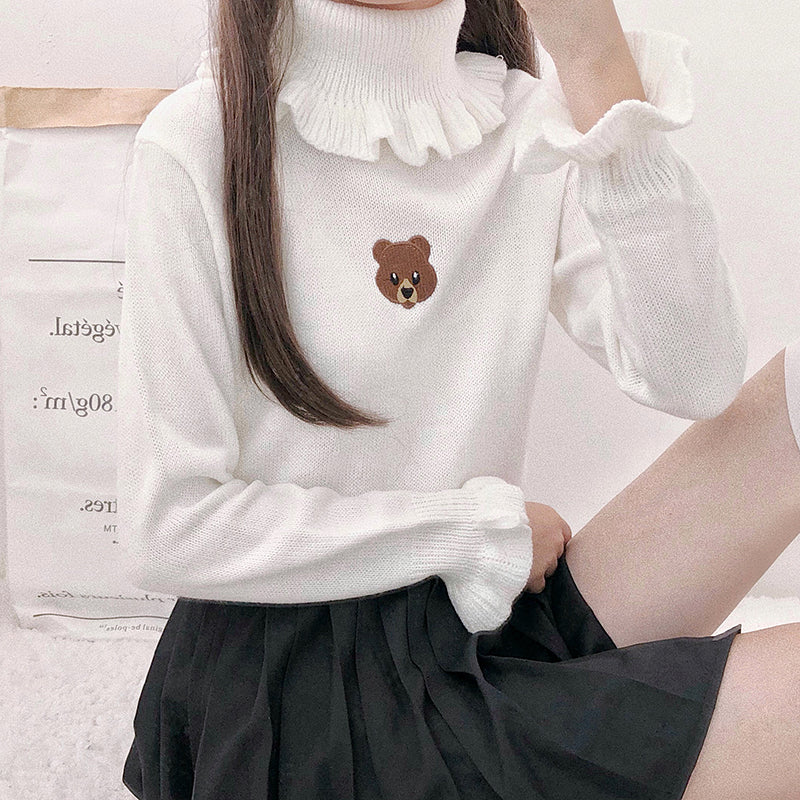"""CUTE LITTLE BEAR RUFFLED"" TURTLENECK SWEATER K110510"
