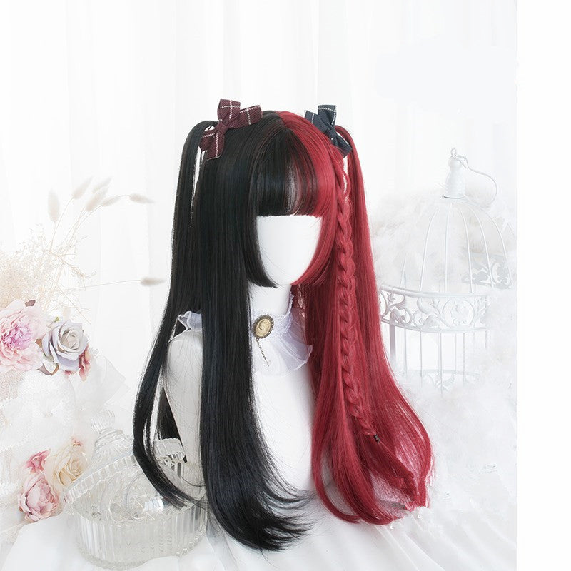 """HALF RED HALF BLACK"" LONG CURLY / STRAIGHT WIG K081605"