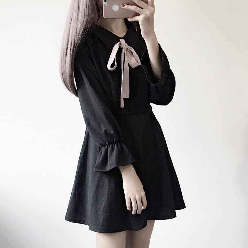 """BOW BLACK LONG SLEEVE"" DRESS K042601"