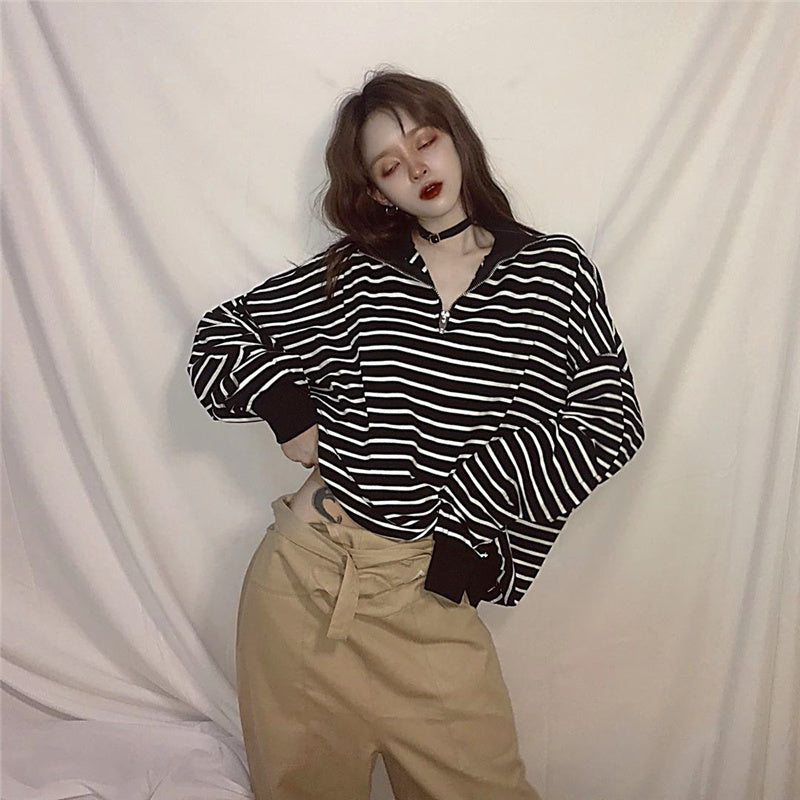 """HARAJUKU BLACK WHITE STRIPED"" LONG SLEEVES K102509"