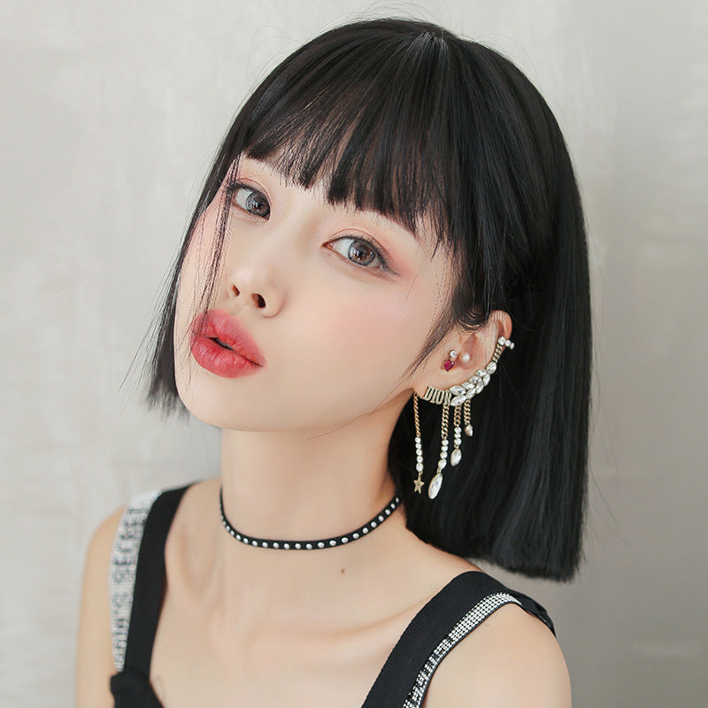 """NATURAL BLACK SHORT STRAIGHT"" WIG H041913"